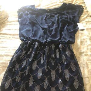 SLNY Navy Blue Geo-Sequin Chiffon Blouson Dress